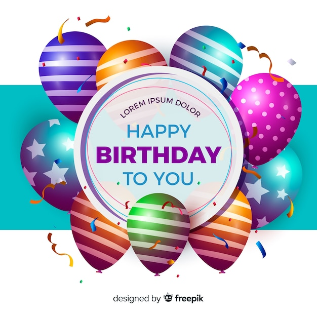 Realistic Happy Birthday Party Background Vector