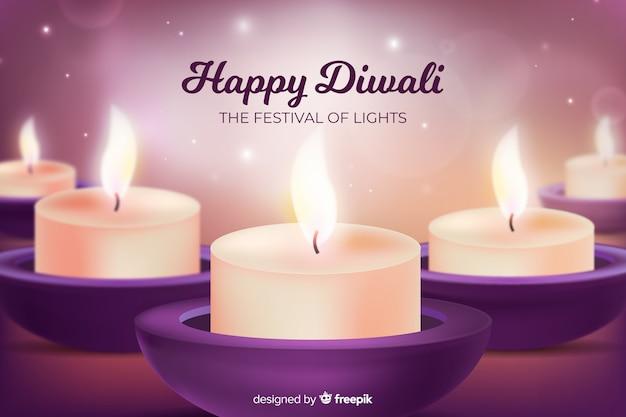 Realistic happy diwali background Free Vector