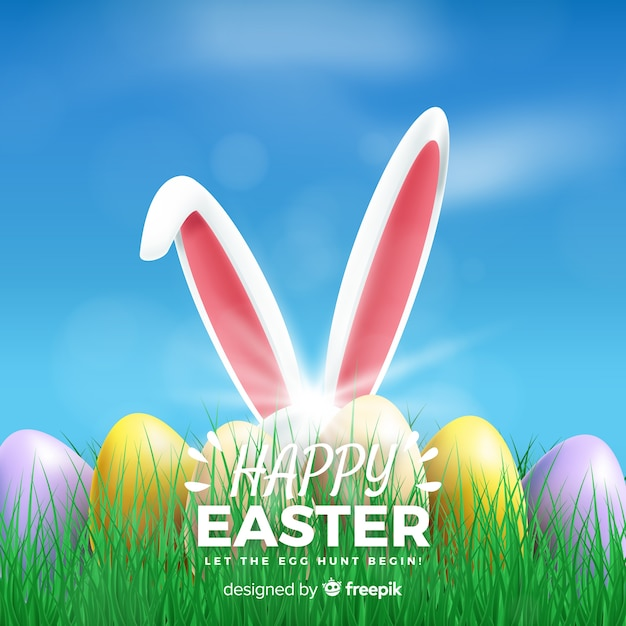 Realistic happy easter day background Free Vector
