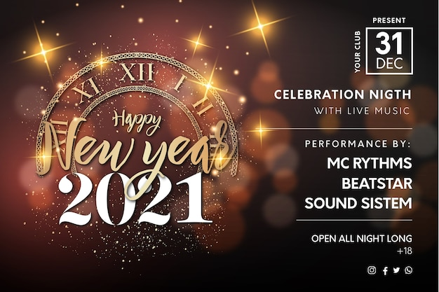 Realistic happy new year 2021 night event poster with golden texture and bokeh Free Vector