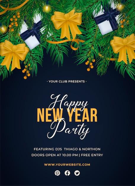 Реалистичный плакат с новым годом Бесплатные векторы