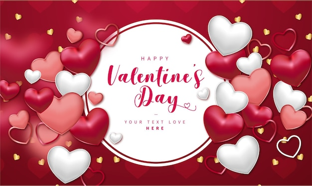 Realistic happy valentine's day banner with hearts composition Free Vector