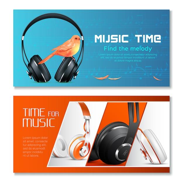 Realistic headphones horizontal banner set Premium Vector