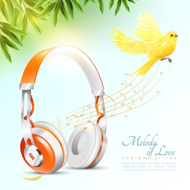 Realistic headphones poster Free Vector