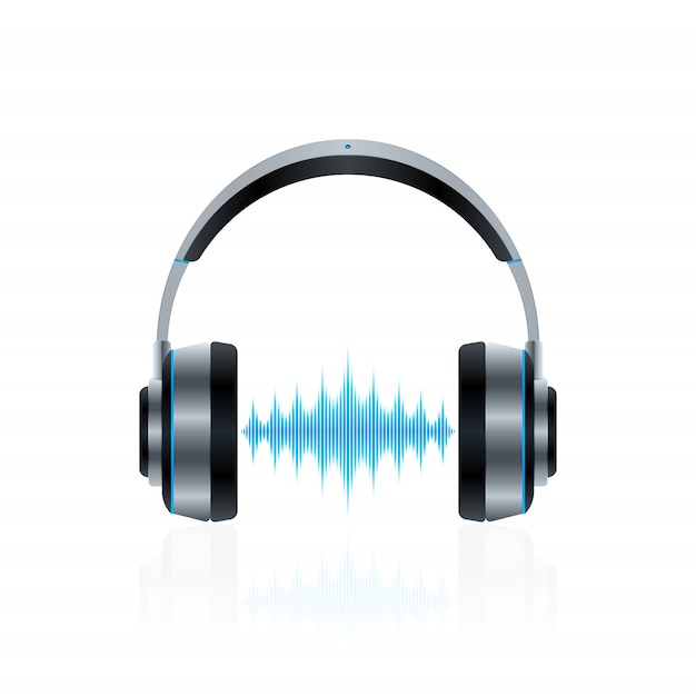 Realistic headphones with sound waves Premium Vector