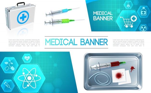 金属製の滅菌器と薬のアイコンで医療ボックス注射器血包帯で現実的なヘルスケアカラフルな組成 Premiumベクター