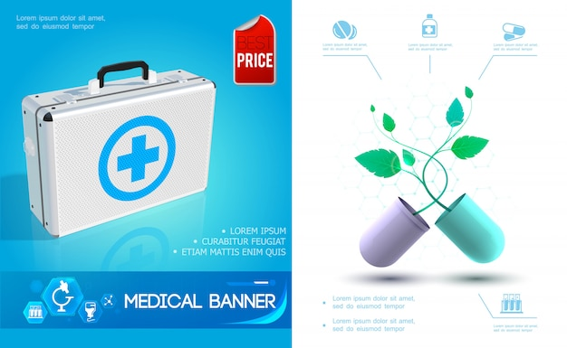 Realistic healthcare colorful composition with medical kit and broken capsule with plant Free Vector