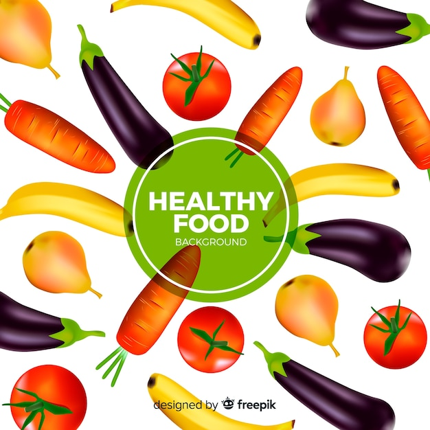 Realistic healthy food background Free Vector