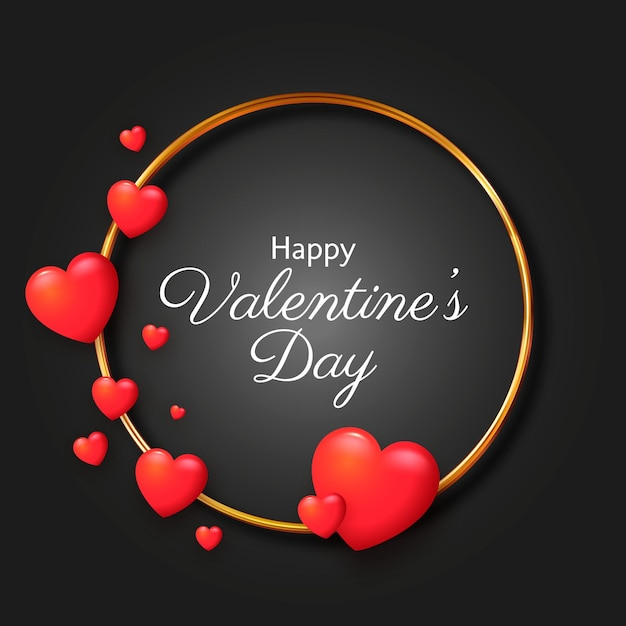 Realistic hearts valentine's day background Free Vector