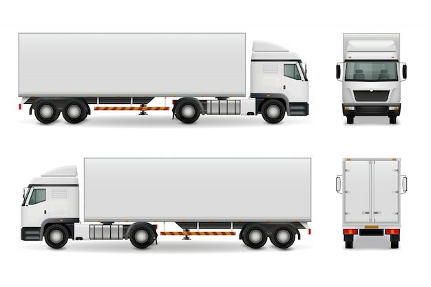 Реалистичный тяжелый грузовик Бесплатные векторы
