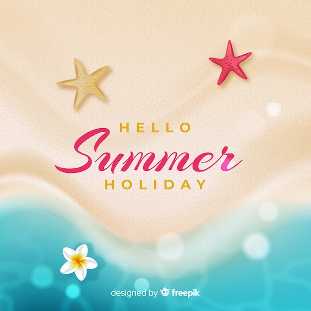 Realistic hello summer background at the beach Free Vector