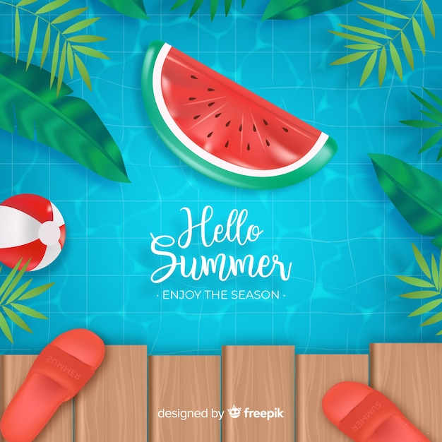 Realistic hello summer background Free Vector