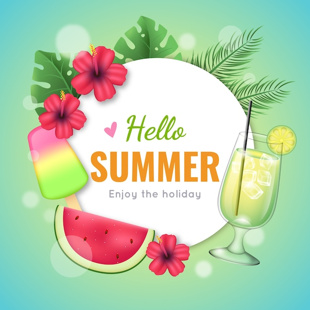 Реалистичные привет летние бокалы для коктейлей Бесплатные векторы