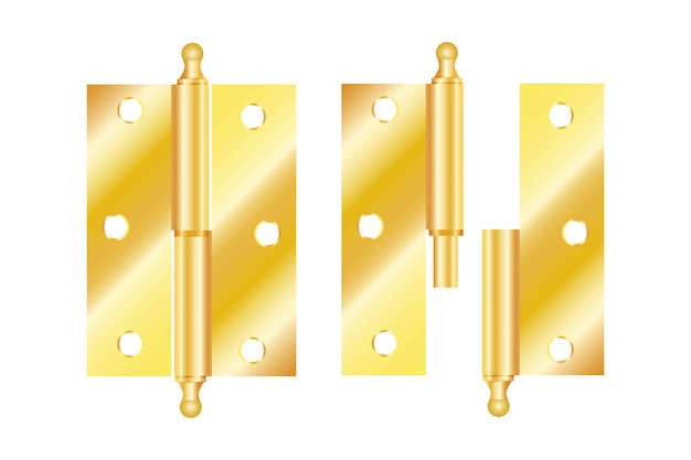 Realistic hinges stainless steel icon Premium Vector