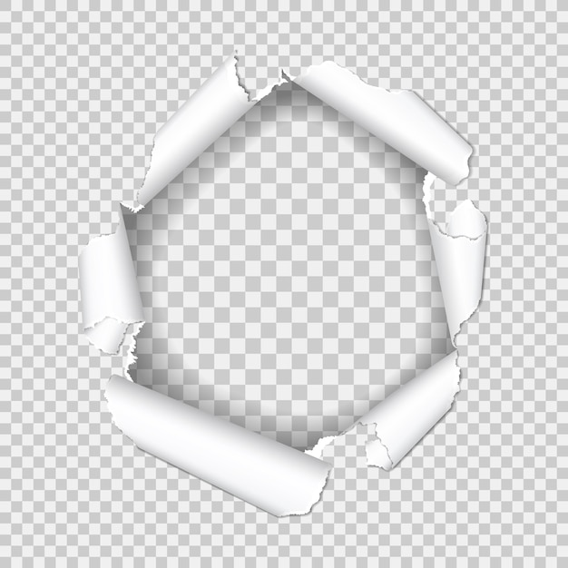 Реалистичное отверстие в листе бумаги с рваными краями на прозрачном фоне. Premium векторы