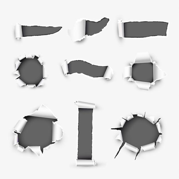 Realistic holes in white paper Premium Vector