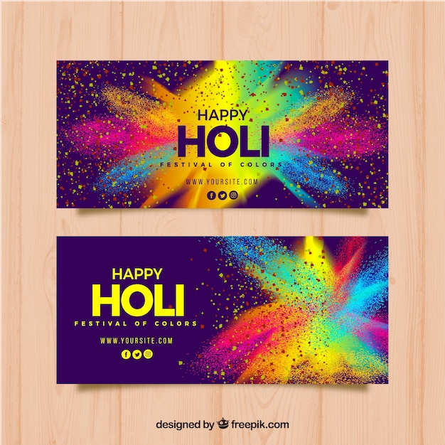 Realistic holi festival banners Free Vector