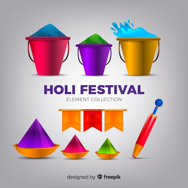 Realistic holi festival element collection Free Vector