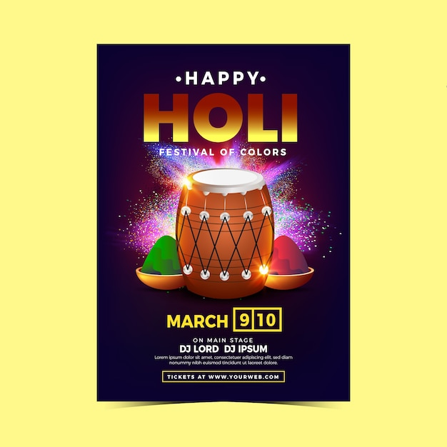 Realistic holi festival flyer template with paint powder and drums Free Vector