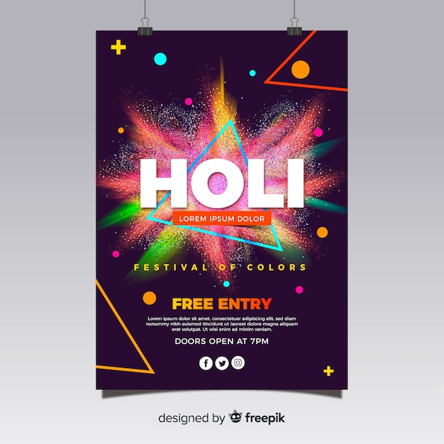 Realistic holi festival flyer template Free Vector