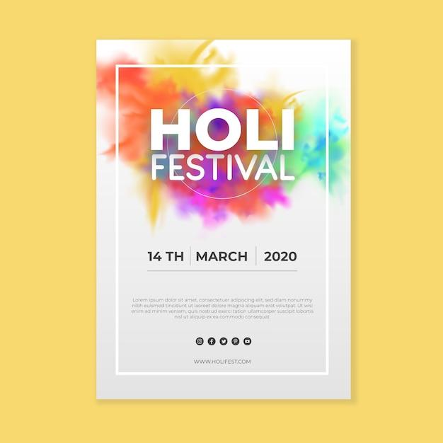Реалистичный шаблон флаера фестиваля холи Бесплатные векторы