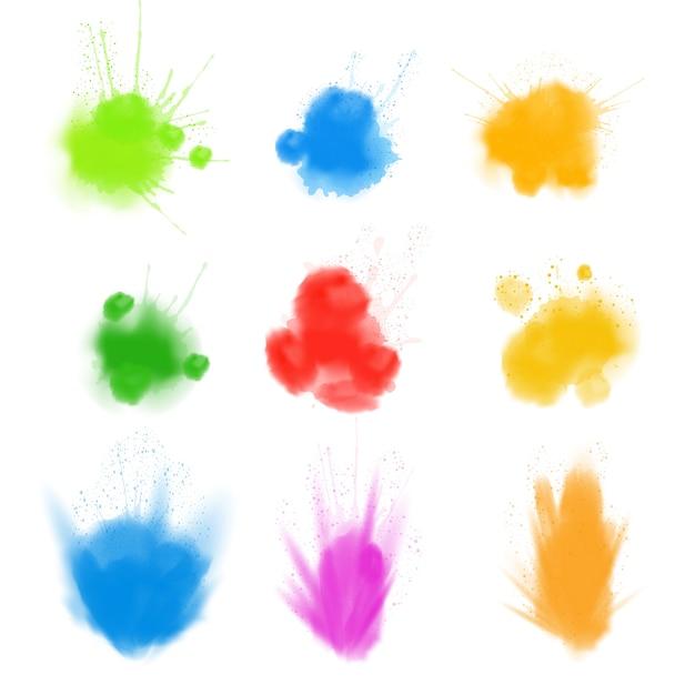 現実的なホーリー、色のお祭り、パウダー雲セット。ベクトルイラスト。 Premiumベクター