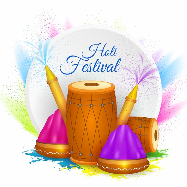 Realistic holi festival Free Vector