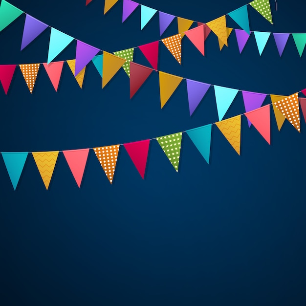 Realistic holiday garlands flags background Free Vector
