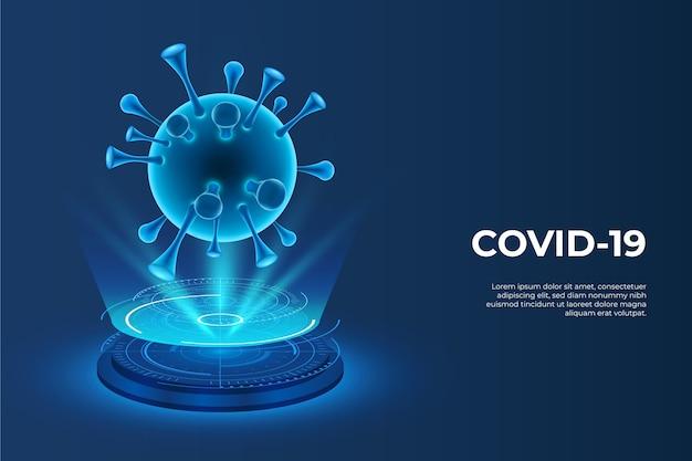 Ologramma realistico di coronavirus sfondo Vettore gratuito