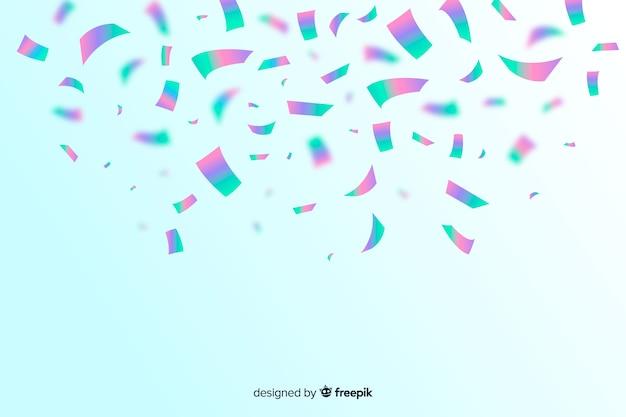 Realistic holographic confetti background Free Vector