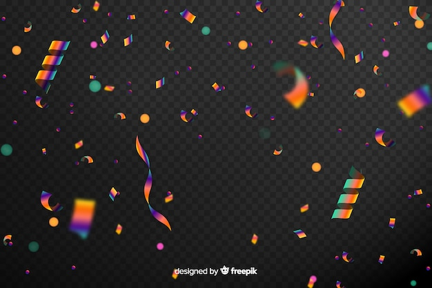 Realistic holographic confetti background Free Vector