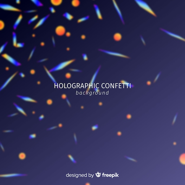 Realistic holographic confetti falling background Free Vector
