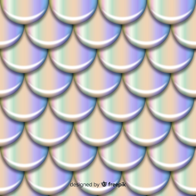 Realistic holographic mermaid tail background Free Vector