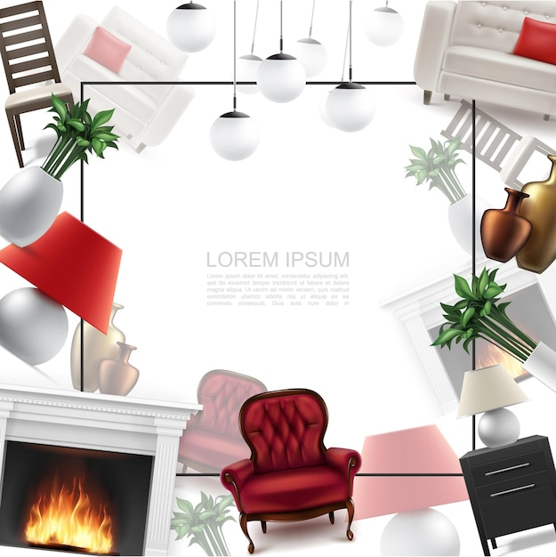 Realistic home interior template with frame for text comfortable armchair ceiling and table lamps nightstand chair flowers vases sofa fireplace Free Vector