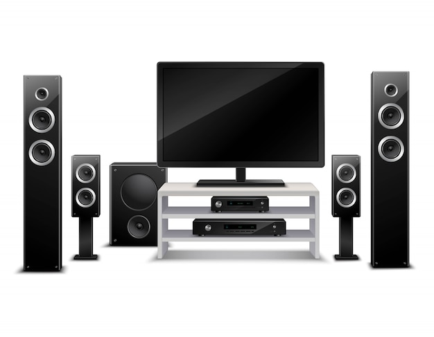 Realistic home theater concept Free Vector