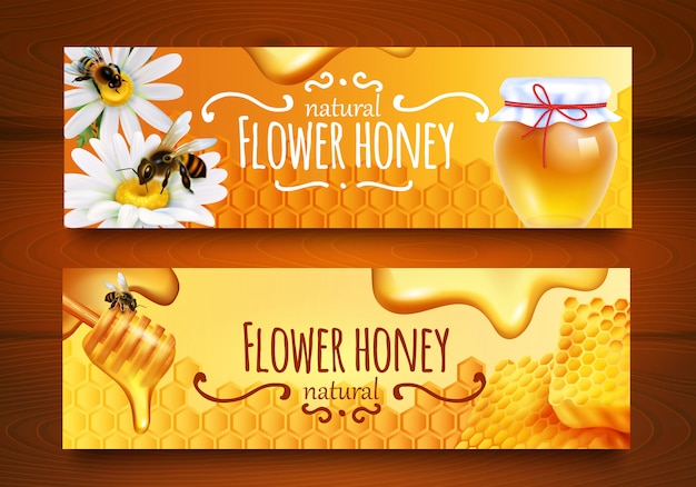 Realistic honey banners Free Vector