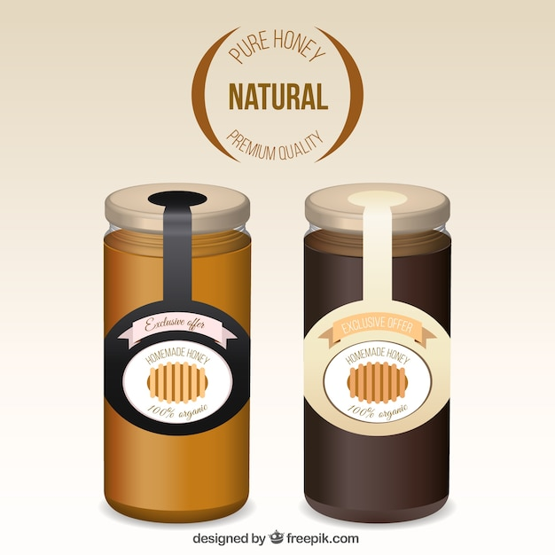 Realistic honey jars Free Vector