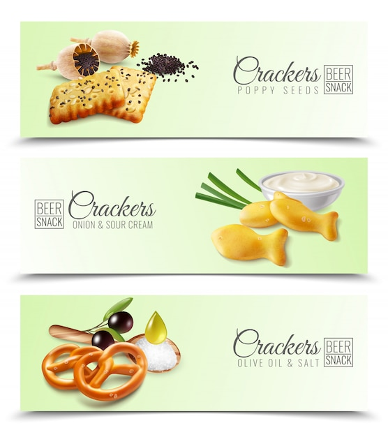 Realistic horizontal banners promoting crackers with poppy seeds onion and sour cream olive oil and salt  illustration Free Vector