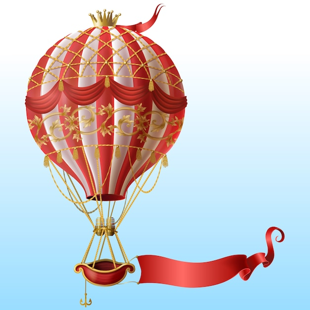 realistic hot air balloon with vintage decor, crown, flying on blue sky with blank red ribbon Free Vector