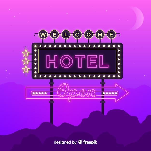 Realistic hotel neon sign background Free Vector
