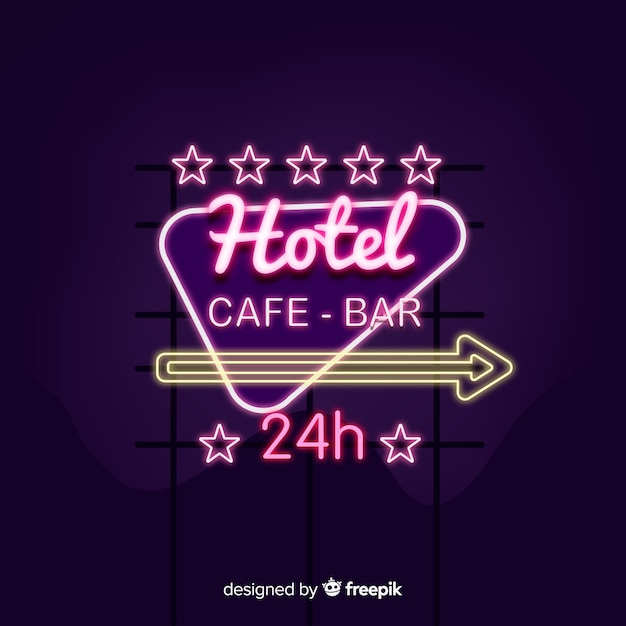 Realistic hotel neon sign Free Vector