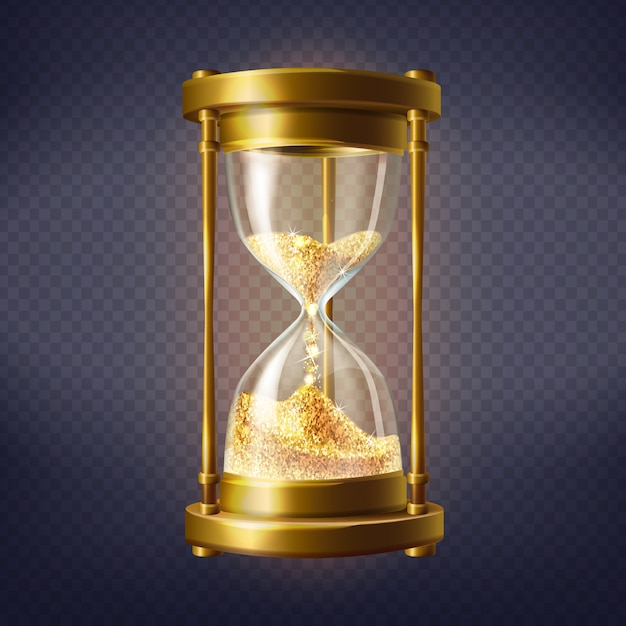 Realistic hourglass, antique clock with golden sand inside Free Vector