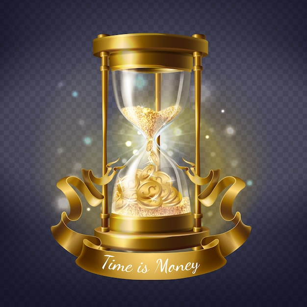 Realistic hourglass, antique timer with sand inside to measure hours and minutes Free Vector