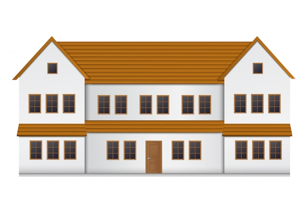 Realistic house front view. Premium Vector