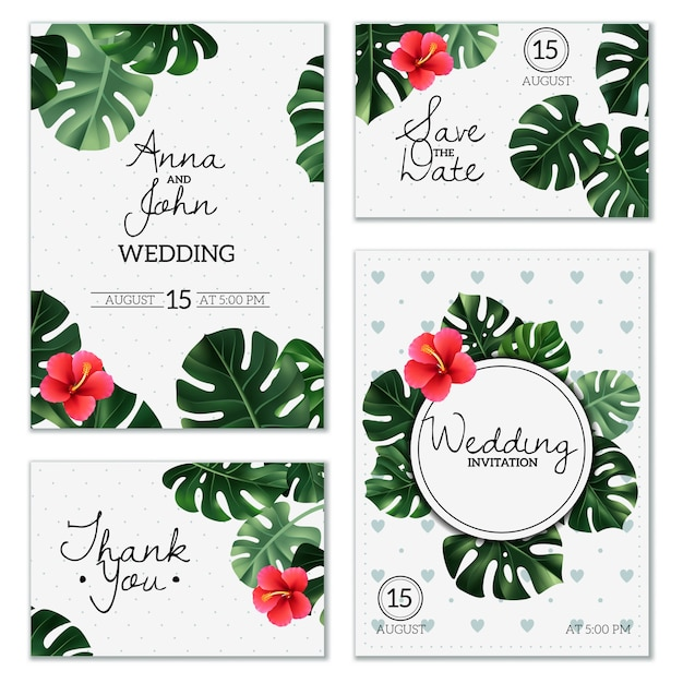 Realistic House Plant Wedding Cards Vector Free Download