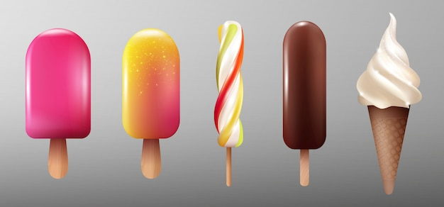 Realistic ice cream collection Free Vector