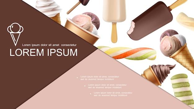 Реалистичная красочная композиция мороженого с фруктовым мороженым, фруктовым мороженым, фруктовым шоколадом, ванильным мороженым и шариками разных вкусов Бесплатные векторы