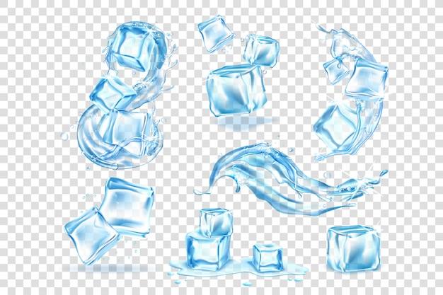 Реалистичные кубики льда, коллекция брызг воды Premium векторы