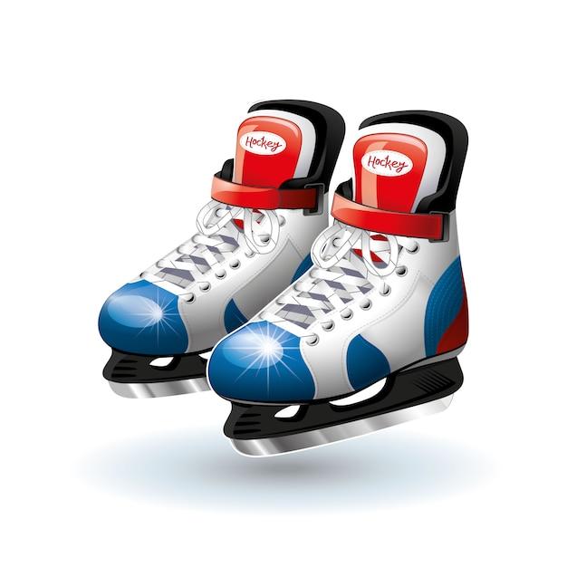 Realistic ice hockey skates isolated on white. Premium Vector