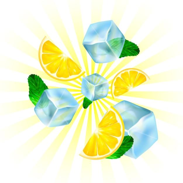 現実的な氷、レモン、ミント。 Premiumベクター